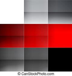 cinzento, abstratos, quadrados, experiência vermelha