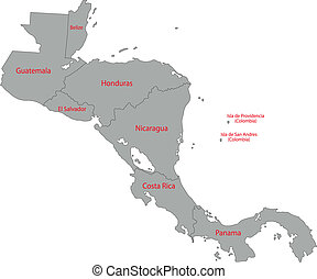 cinzento, américa, central, mapa