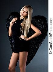 cinzento, anjo, fundo, pretas, asas