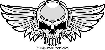 cinzento, asas, cranio
