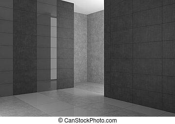 cinzento, banheiro, modernos, azulejos, vazio