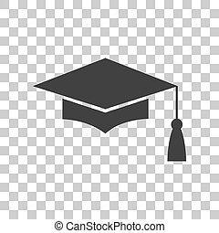 cinzento, boné, experiência., ou, símbolo., graduação, tábua, morteiro, ícone, transparente, escuro, educação