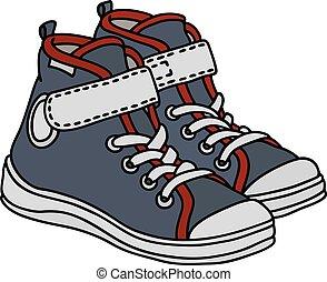 cinzento, branca, sneakers