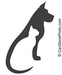 cinzento, cão, e, gato branco