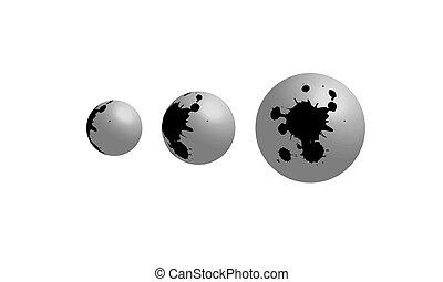 cinzento, círculo, pretas, manchas, sequência