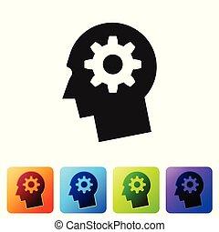 cinzento, cabeça humana, com, engrenagem, dentro, ícone, isolado, branco, experiência., artificial, intelligence., cérebro pensando, sinal., símbolo, trabalho, de, brain., jogo, ícone, em, cor, quadrado, buttons., vetorial, ilustração