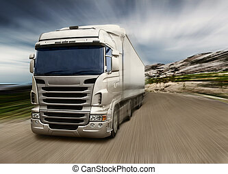 cinzento, caminhão, rodovia