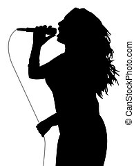 cinzento, cantor, mulher, cabo, microfone, segurando