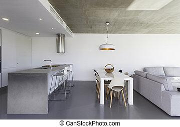 cinzento, chão, parede, modernos, azulejo, branca, cozinha