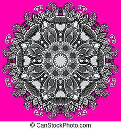 cinzento, circular, decorativo, padrão geométrico, para,...