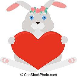 cinzento, coelho, vermelho, Coração