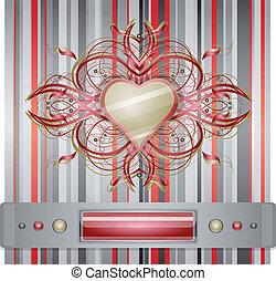 cinzento,  -, Coração, vermelho, fundo