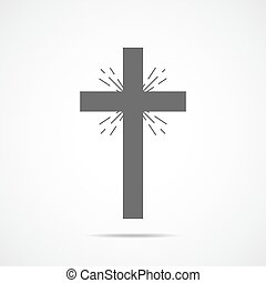 cinzento, cristão, illustration., crucifixos, vetorial, icon.