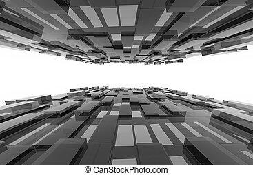 cinzento, cubos, illustration., abstratos, pattern., fundo, 3d