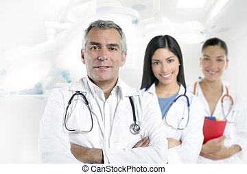 cinzento, doutor, enfermeiras, hospitalar, dois, cabelo, sênior
