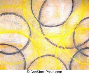 cinzento, e, amarela, arte abstrata