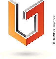 cinzento, e, laranja, escudo, semelhante, 3d, forma, vetorial, ilustração