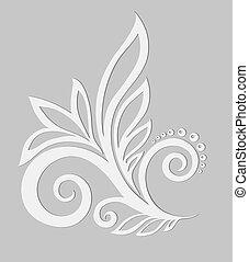 cinzento, elemento, experiência., papel, desenho, floral