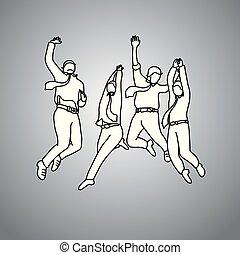 cinzento, esboço, negócio, sucesso, doodle, concept., linhas, isolado, ilustração, alegria, quatro, experiência., vetorial, pretas, homens negócios, desenhado, trabalho equipe, mão, pular