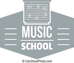 cinzento, escola, simples, estilo, música, logotipo