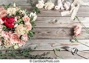 cinzento, espaço, madeira, trabalho, experiência., floricultor, tabela, cópia, ferramentas