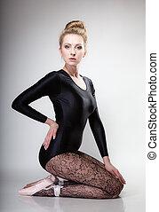 cinzento, estilo, cheio, dançarino, modernos, balé, comprimento, mulher