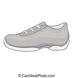 cinzento, estilo, homens, sneakers, ícone, monocromático