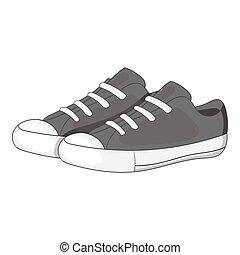cinzento, estilo, sneakers, ícone, monocromático, mulheres
