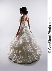 cinzento, fascinante, mulher, magnífico, isolado, noiva, estúdio, fundo, vestido casamento