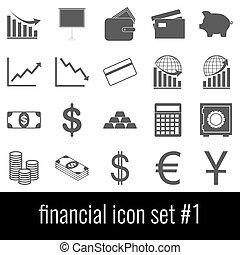 cinzento, financial., ícones, experiência., jogo, branca, 1., ícone