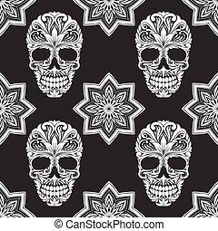 cinzento, flor, pretas, cranio, padrão