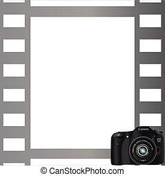 cinzento, fundo, quadro fotografia, câmera, canto