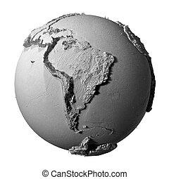 cinzento, globo, américa, -, sul