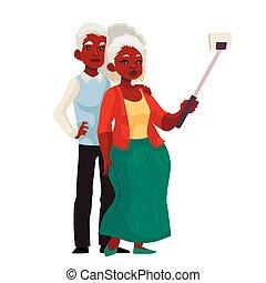 cinzento-haired, par, levando, ancião, americano, africano, selfie