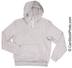 cinzento, hoodie, sweater., isolado, branco, experiência.