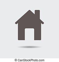 cinzento, illustration., casa, vetorial, shadow., ícone
