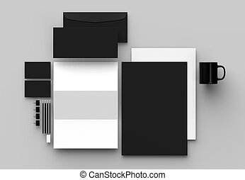 cinzento, isolado, cima, experiência., escarneça, papelaria, illustrating., identidade incorporada, 3d