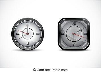 cinzento, isolado, parede branca, relógio