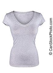 cinzento, isolado, t-shirt, femininas, em branco, branca