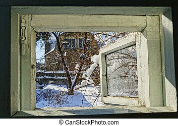 cinzento, janela aberta, com, um, vista, de, a, ensolarado, inverno, rua