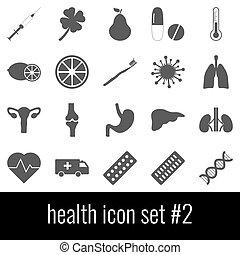 cinzento, jogo, ícones, experiência., 2., ícone, branca, health.