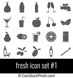 cinzento, jogo, ícones, experiência., branca, 1., fresh., ícone