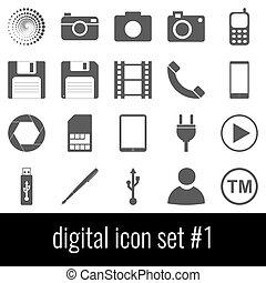 cinzento, jogo, ícones, experiência., digital., branca, 1., ícone