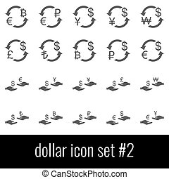 cinzento, jogo, ícones, experiência., dollar., 2., branca, ícone