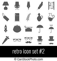 cinzento, jogo, ícones, experiência., retro., 2., branca, ícone