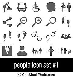 cinzento, jogo, ícones, pessoas., experiência., branca, 1., ícone