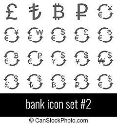 cinzento, jogo, bank., ícones, experiência., 2., branca, ícone