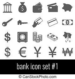 cinzento, jogo, bank., ícones, experiência., branca, 1., ícone