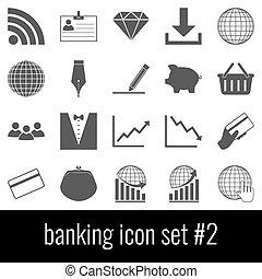 cinzento, jogo, banking., ícones, experiência., 2., branca, ícone