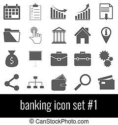 cinzento, jogo, banking., ícones, experiência., branca, 1., ícone